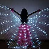 Adarl Belly Dance LED Light Up Angel Wings Costumes for Girls, 360° Full Swing Butterfly Cloak Performance Props for Halloween Carnival, White