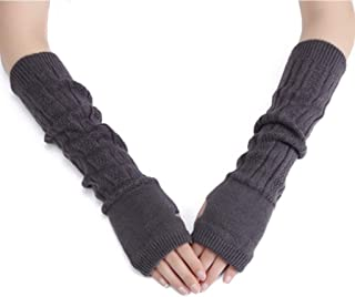 Colorful House Fingerless Thumb Hole Long Gloves Mittens Winter Arm Warmer