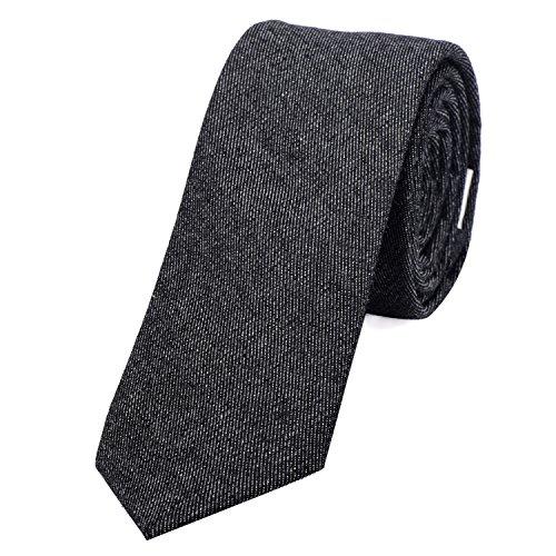 DonDon Corbata estrecha de algodón para hombres de 6 cm con look estilo vaquero Jeans