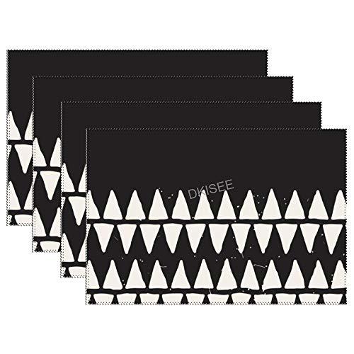 DKISEE - Manteles individuales geométricos sobre fondo negro resistentes al calor para mesa de comedor, alfombrillas de mesa antideslizantes lavables y modernas, 4 unidades, 30 x 45 cm, SDS013