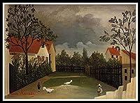 アクリル絵の具でナンバーキットでペイントルソー養鶏場-キャンバスにナンバーキットで40x50cmの絵画、DIYカラー油絵アクリル絵の具、家の壁の装飾
