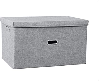 Auch Collapsible Fabric Storage Bin Foldable Linen Storage Box with Lids, Linen Cloth Organization, Home Portable Storage Cube with Handles Divider for Bedroom Closet Office Living Room (M)