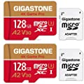 Gigastone 128GB 2-Pack Micro SD Card, 4K Game Pro, Professional 4K Ultra HD, High Speed 4K UHD Gaming, Micro SDXC UHS-I U3 C10 Class 10 Memory Card with Adapter, 5-Year Warranty