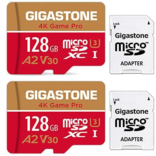 Gigastone Carte Mémoire 128 Go Lot de 2 Cartes, 4K Game Pro Série, Compatible avec Nintento Switch, Vitesse de Lecture allant jusqu'à 100 Mo/s. pour 4K vidéo, A2 U3 Carte Micro SDXC + Adaptateur SD.