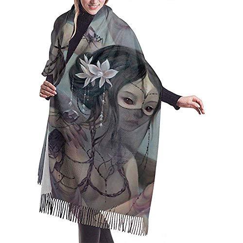 Cathycathy Recolectando seda de arañas de cristal Chal de bufanda de cachemira larga de invierno para hombres y mujeres