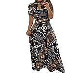 YJYdada_ Blouse Women Floral Dress Ladies Summer Evening Holiday Party Long Tunic Sundress (XL, Sky Blue)