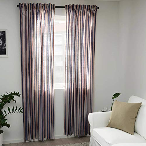 Ikea Bergskrabba Curtains 1 Pair Blue red Stripe 57x98 104.508.51