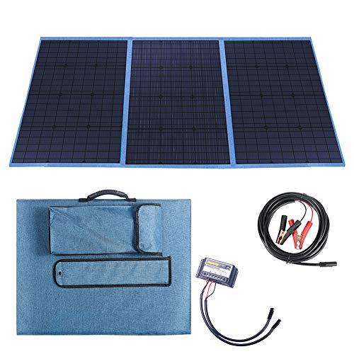 Betop -150 watts bärbart laddningskit för camping med hopfällbar solpanel med 10 A regulator, reseförpackning med solbatteriladdare med DC utgång för bil, husbil, båt, 12-Volts batterier