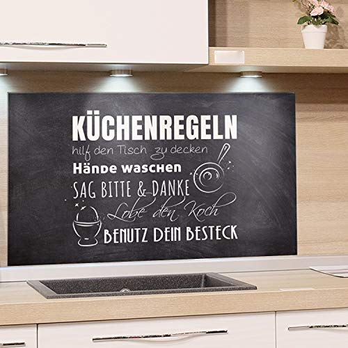 GRAZDesign Fliesenspiegel Küche Küchensprüche, Glasrückwand Küche Küchenmotiv, Rückwand Küche Steinoptik, Küchenrückwand Glas Küchenregeln / 80x50cm