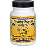 Healthy Origins Seleno Excell Selenium - 200 mcg - 180 Capsules, Vitamins and Minerals, Trace Elements Gluten Free Wheat Free