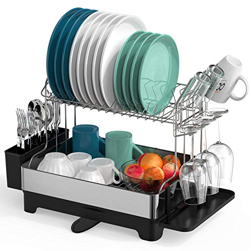 Dish Drying Rack, Warmfill 2 Tier 304 Stainless Steel Large Kitchen Dish Rack with Swivel Spout, Wine Glasses Holder, Utensil Holder for Kitchen Counter, Black