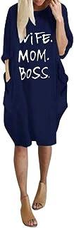 Buyaole Abito Vestito Gonna Jumpsuit Mini Abito Corto Stampato Manica Lunga Donna Estate Tulle Bambina Camicia Sportiva Ta...