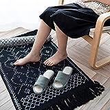 Ukeler Dekorativer geometrischer Kelim-Teppich, Baumwolle, bedruckt, moderner handgewebter Flickenteppich mit Quasten, langlebig, für Küche, Waschküche, Schlafzimmer, 60 x 130 cm, abstraktes Schwarz - 7