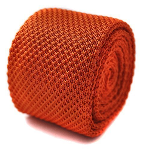 Frederick Thomas uni orange cravate en maille avec pointus fin