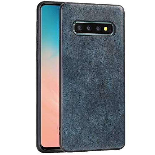 JIAHENG Caja del teléfono for Samsung Galaxy S10 Plus Crazy Horse Textured Calfskin PU + PC + Funda TPU Cubierta de Cuero (Color : Blue)