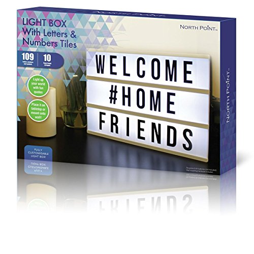 Northpoint Cinema Style 10-LED Home Decor Large Light Box with 109 Letters and Characters, Wall Mounted or Tabletop, Battery or USB Powered