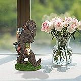 NUB Der Gartenzwerge schleppende Yeti Bigfoot Gartenstatue Grosser Miniaturbigfoot und Zwege für den Feengarten Eine große Gartenzwergfigur und EIN Feengartenaccessoire