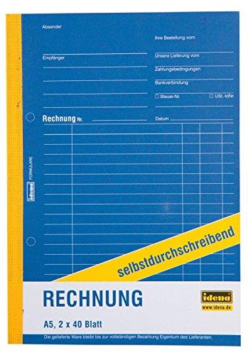 Idena 314256 - Rechnungsbuch, selbstdurchschreibend, 1. Blatt weiß, 2. Blatt gelb, perforiert, gelocht, holzfreies Papier, DIN A5, 2 x 40 Blatt