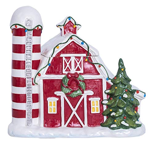 Blue Sky Ceramics Christmas Barn Cookie Jar, Multi