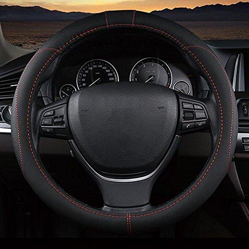 MIAO Couverture de volant de voiture - Four Seasons général respirant anti-dérapant confortable Microfiber PU cuir Housse de Volant, noir , 36cm