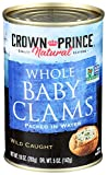 Crown Prince, Natural Boiled Baby Clams in Water, 10 oz