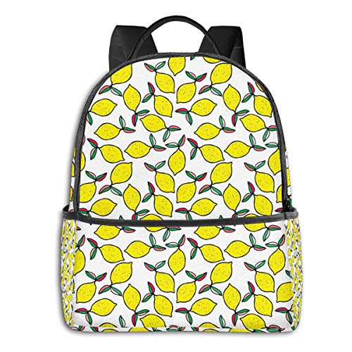 Qucoost Summer Lemons Daypack With Side Pockets, College School Bookbag Anti-Theft Multipurpose