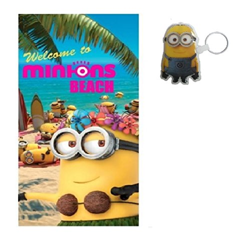 MINIONS Strandtuch + LED Licht Anhänger Badetuch Welcome to Beach