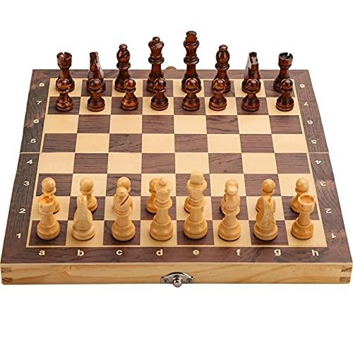 RENFEIYUAN Gran Conjunto de ajedrez Plegable de Madera magnética Junta de Juego Fieltro 39cm * 39cm Juego Familiar Junta de ajedrez 34 cm ajedrez Damas (Color : 29cm)