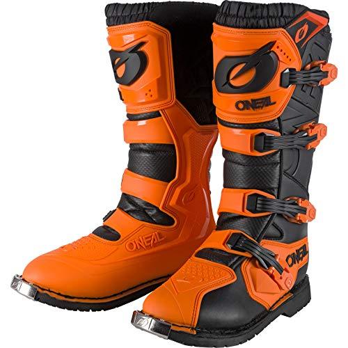 O'NEAL | Botas de Motocross | Moto Enduro | Comodidad gracias a la manga de malla de aire, cuatro hebillas, material sintético de Perdurable | Botas Rider Pro | Adultos | Naranja | Talla 44