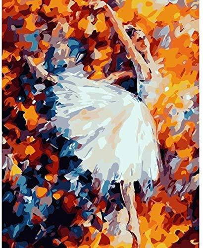 QIAOYUE Pintar por números para Adultos y niños Pintura Abstracta Bailarina de...
