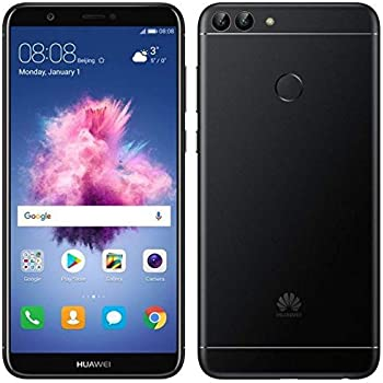 "Huawei P Smart (32GB) 5.6"" Fullview Display & Dual Camera's, 4G LTE Dual-SIM Factory Unlocked w/ Fingerprint Scanner FIG-L23 International Model, No Warranty (Black)"