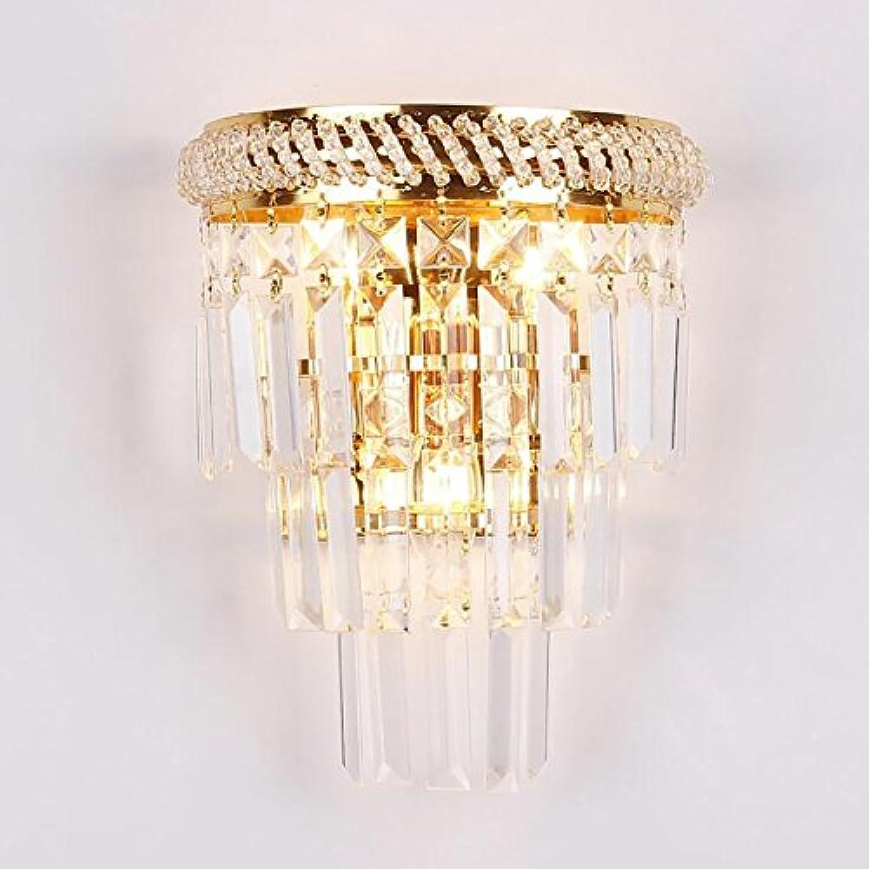 TOYM UK Goldwandlampe, Metallüberzug Krper K9 Kristall moderne kreative Persnlichkeit Schlafzimmer Nachttischlampe, E14  3, für Wohnzimmer Treppen   Gang