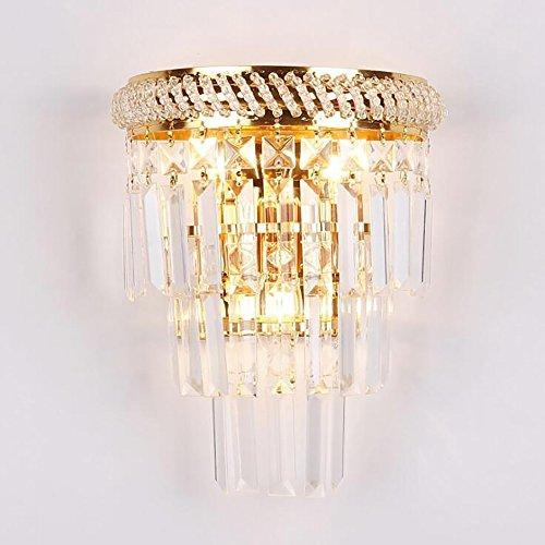 TOYM UK Lampe de mur d'or, corps en métal de placage K9 cristal lampe de chevet de chambre à coucher de personnalité créatrice moderne, E14 * 3, pour le salon/escaliers / allée