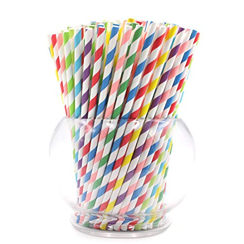 Biodegradable Paper Straws, Black Stripe, 200 Pack