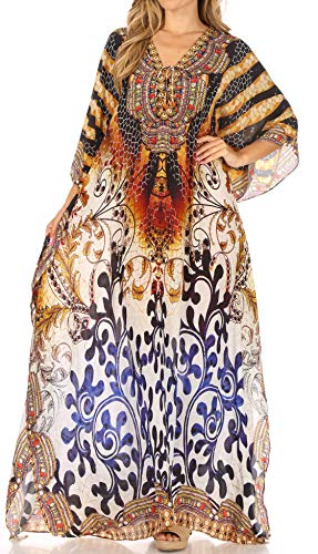 Sakkas SS1688 KF2020885LAT - LongKaftan Georgettina Ligthweight Printed Long Caftan Dress/Cover Up - Black/Brown -OS