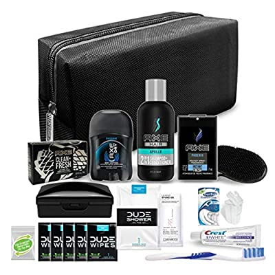 Convenience Kits Young Men's Premium 19 Count Travel Kit, Featuring: Axe Hair & Body Products in Black or Brown Toiletry Bag