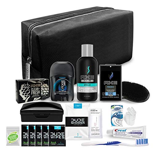 Convenience Kits International Men's Premium 19 Piece Travel Kit, Featuring: Dude and Axe Hair and Body Travel-Size Products