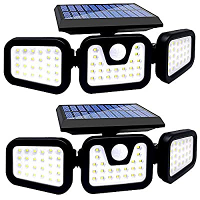 Solar Security Lights,3 Adjustable Head with Solar Motion Sensor Lights Outdoor IP65 Waterproof,70 LED Solar Flood Lights 270°Wide Angle Illumination for Yard,Garden,Garage and Pathway -2 Pack……