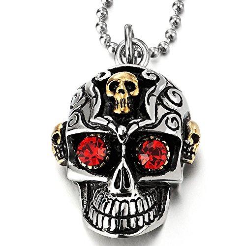 COOLSTEELANDBEYOND Plata Oro Calavera Cráneo de Azúcar con Circonita Roja, Collar con Colgante de Hombre, Acero, 60cm Cadena de Bola