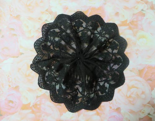 Handmade black embroidered tulle lace doily head cover Veil Hair Cover Kippah Yarmulke (with attached comb) (Style 1017) Elegant Doily Exclusive