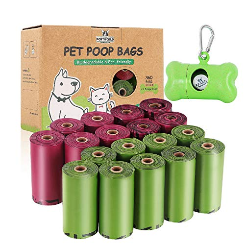 Dog Poop Bags Biodegradable, Eco-Friendly, Leak-Proof, Pet Waste Bags Refill Rolls (18 Rolls / 360 Count) with Dispenser