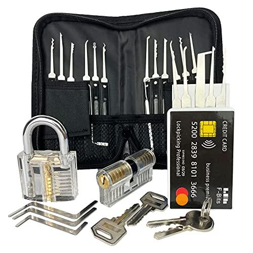 Premium Lockpicking Set Mit Anleitung Und Übungsschlössern 31-Teiliges Dietrich + Kreditkarte – Für Anfänger Und Profis