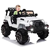 OTTARO Kids Ride on Truck, Children Electric Ride on Car w/Parent Remote Control, 12V Battery Powered Driving Trucks Cars for Boys and Girls, Spring Suspension, MP3 Player (White)