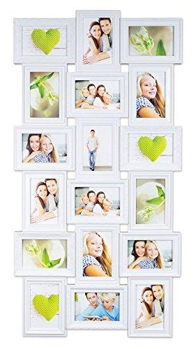 levandeo Bilderrahmen - Weiß für 18 Fotos 10x15 cm - Barock Antik Nostalgie Landhaus - Fotogalerie Collage Fotorahmen Bildergalerie