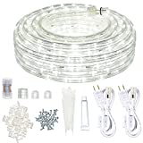 LED Rope Lights Outdoor SURNIE White 50ft Waterproof Flexible Connectable Cuttable with Remote Strip Lights Kit 110V 6000K Indoor Tape Lighting Decorative for Bedroom Garden Patio Stairs Balcony Party