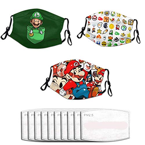 NHH Three Packs with 10 Filter Packs Super M_Ario Mask Face Cover, Air Anti Dust Mouth Washable and Reusable for Men and Women Black