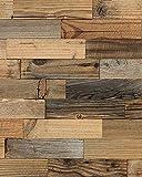 wodewa Paneles de Madera para Pared Vieja de Pino Reciclaje I 1m² Revestimiento de Paredes 3D Panel Decorativo Madera Interior Sala de Estar Cocina Dormitorio Mural