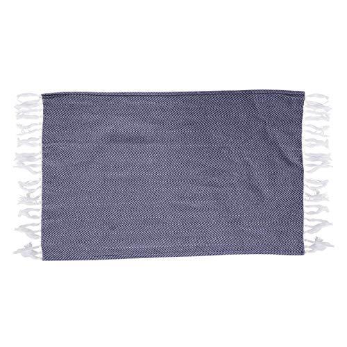 ACAMPTAR katoenen garen geverfde schotel handdoek met handgemaakte kwast servet theedoek handdoek keuken handdoek schoonmaak doek donkerblauw