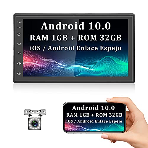 Android 10.0 Radio Coche Bluetooth 2 DIN GPS [1+32G] CAMECHO 7 Pulgadas Pantalla Táctil con RDS WiFi iOS / Android Enlace Espejo FM + Doble USB + Cámara Trasera