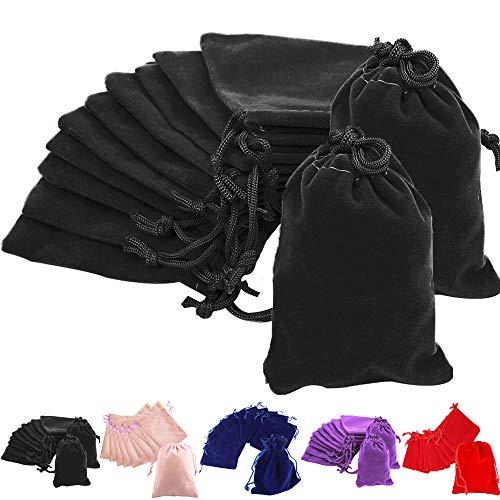 Time to Sparkle TtS 10pcs 5x7cm Velvet Drawstring Bags Velvet Pouches for Jewelry Gift Packaging Wedding, Black